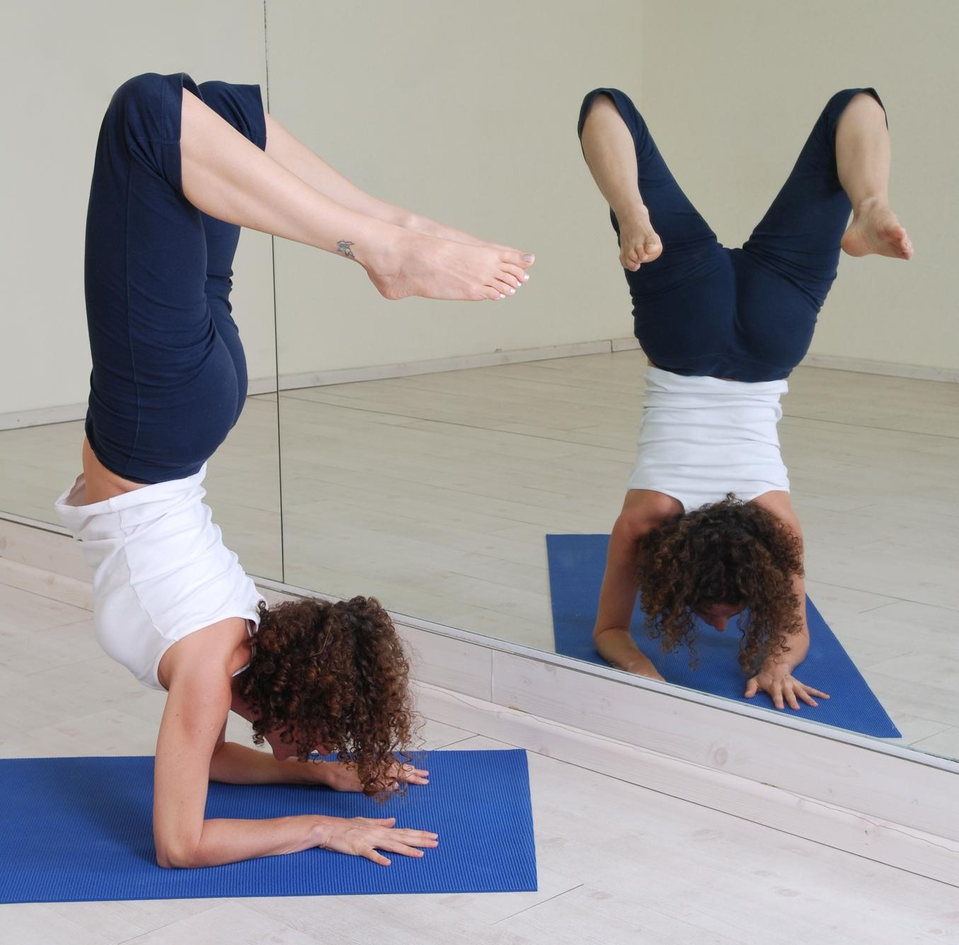 תנוחות יוגה תרגילי יוגה: תנוחת העקרב scorpion pose Vrischikasana